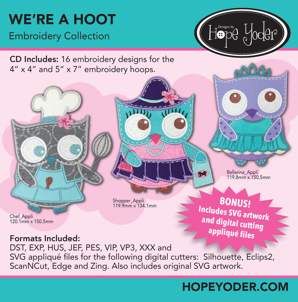 We're A Hoot Embroidery CD with SVG Files