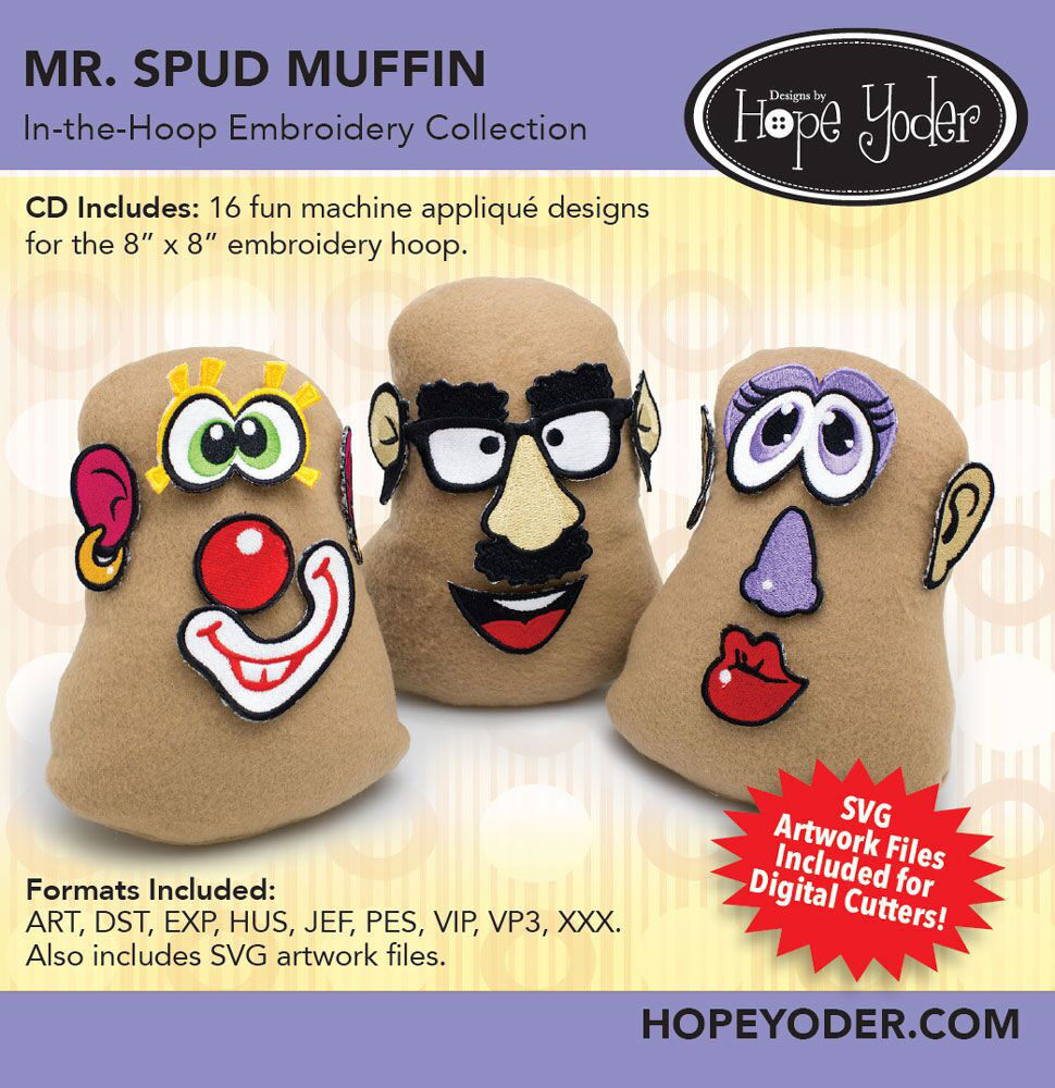 Mr. Spud Muffin Embroidery CD with SVG Files