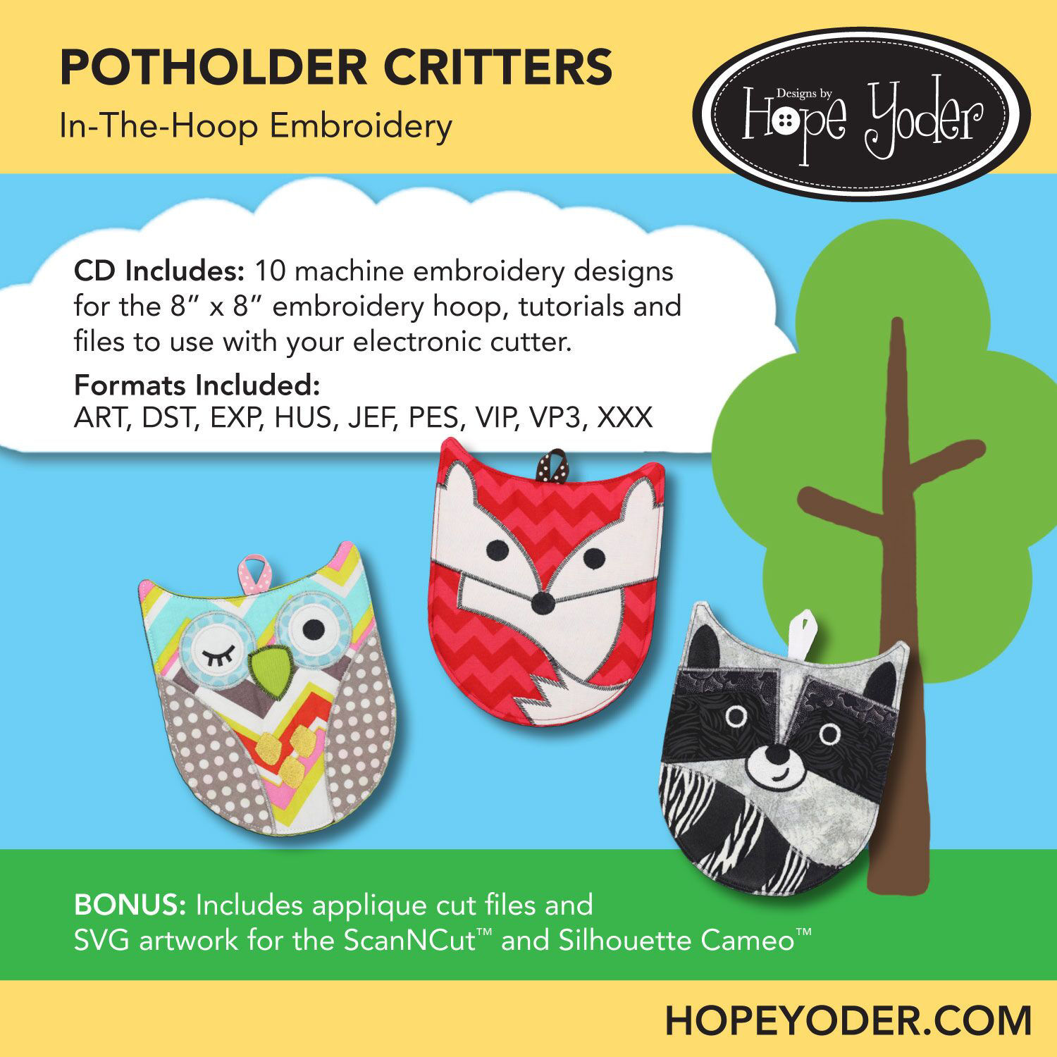 Potholder Critters Embroidery CD with SVG Files