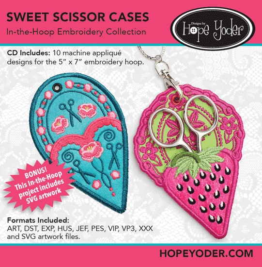Sweet Scissor Case Embroidery CD with SVG Files