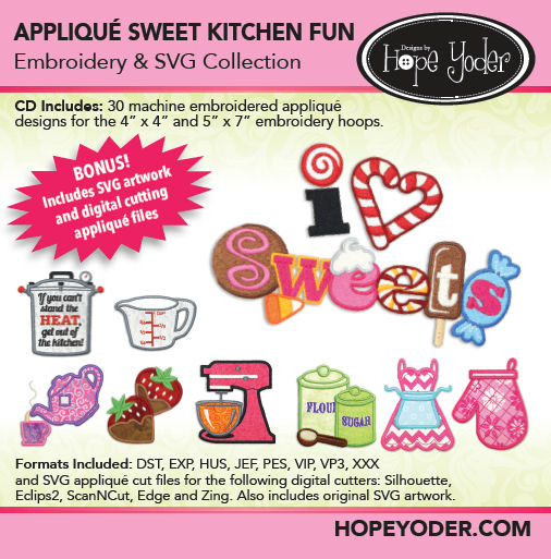 Appliqu� Sweet Kitchen Fun Embroidery CD with SVG Files