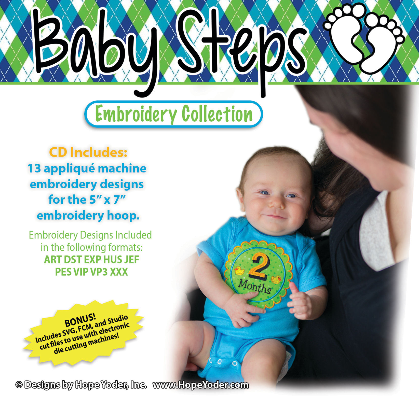 Baby Steps Embroidery CD with SVG Files