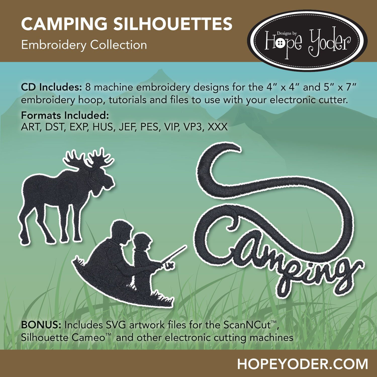 Camping Silhouettes Embroidery CD with SVG Files