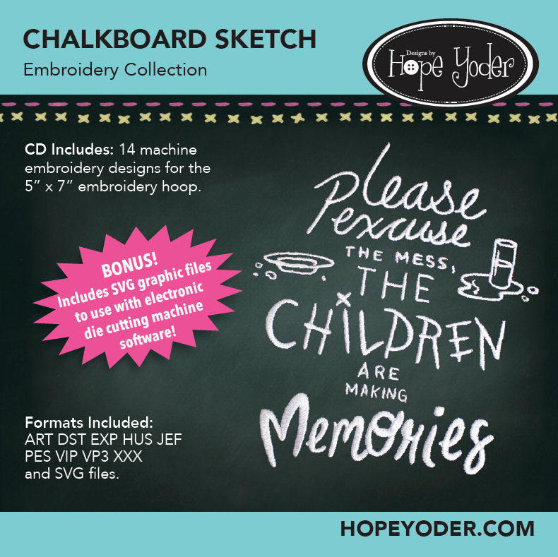 Chakboard Sketch Embroidery CD with SVG Files