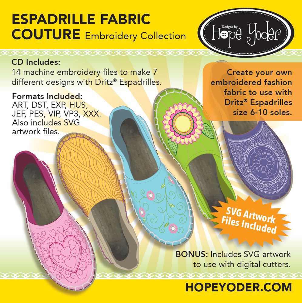 Espadrille Fabric Couture Embroidery CD with SVG Files