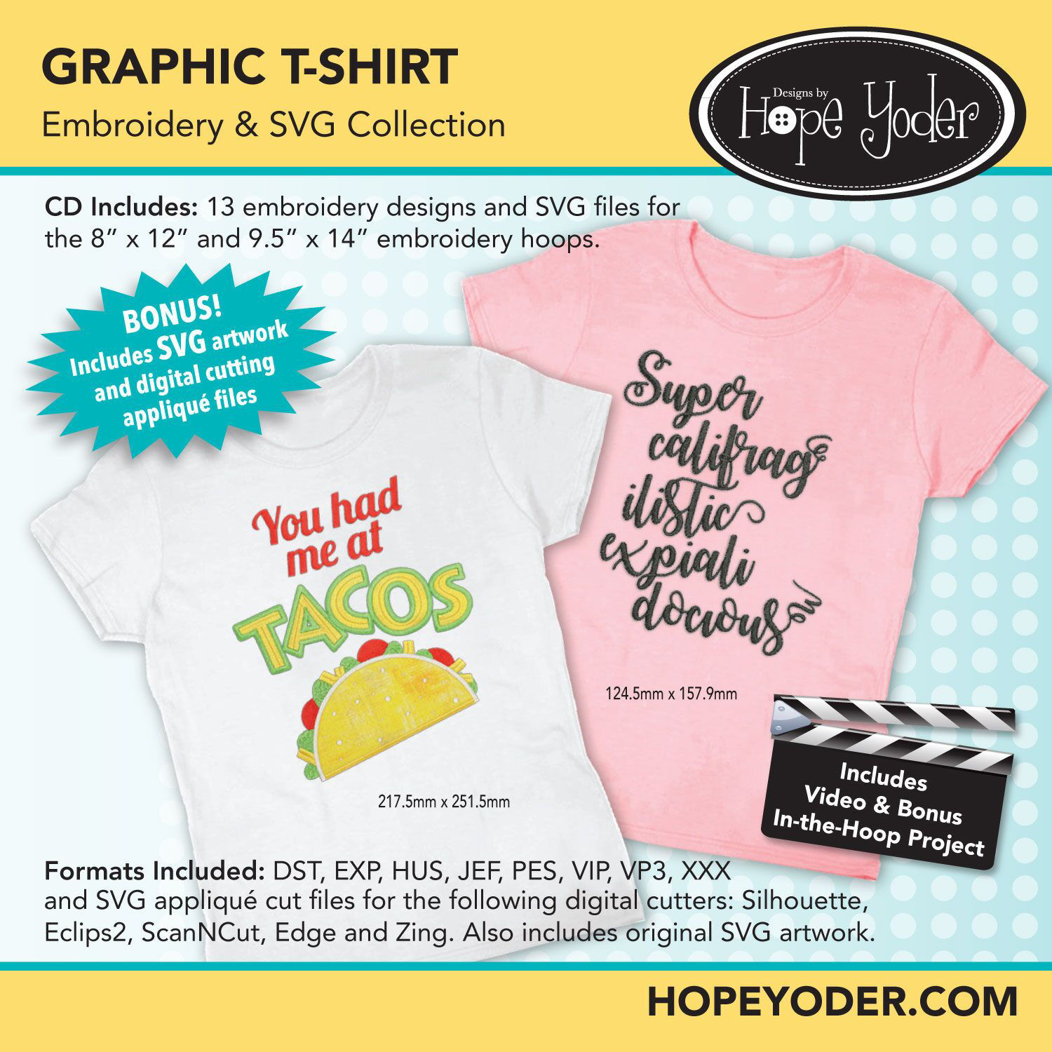 Graphic T-Shirt Embroidery CD with SVG Files