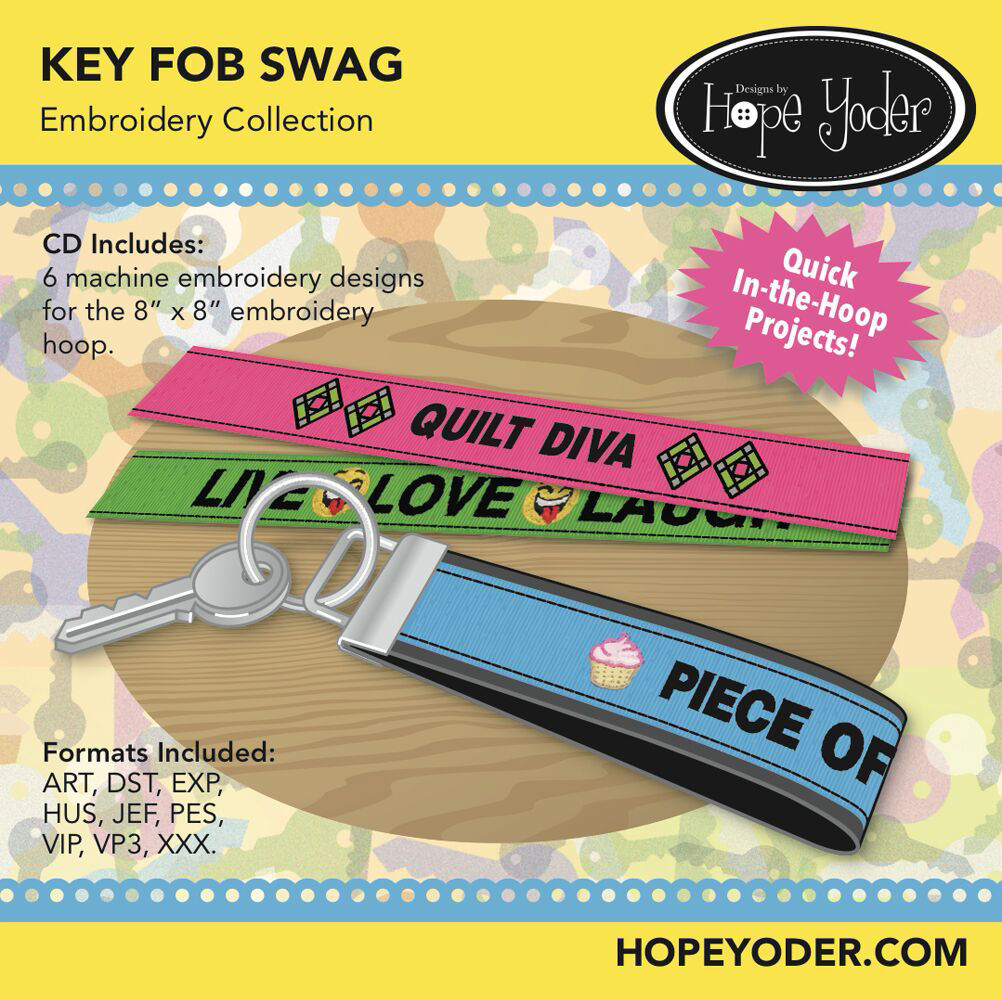 Key Fob Swag Embroidery CD with SVG Files
