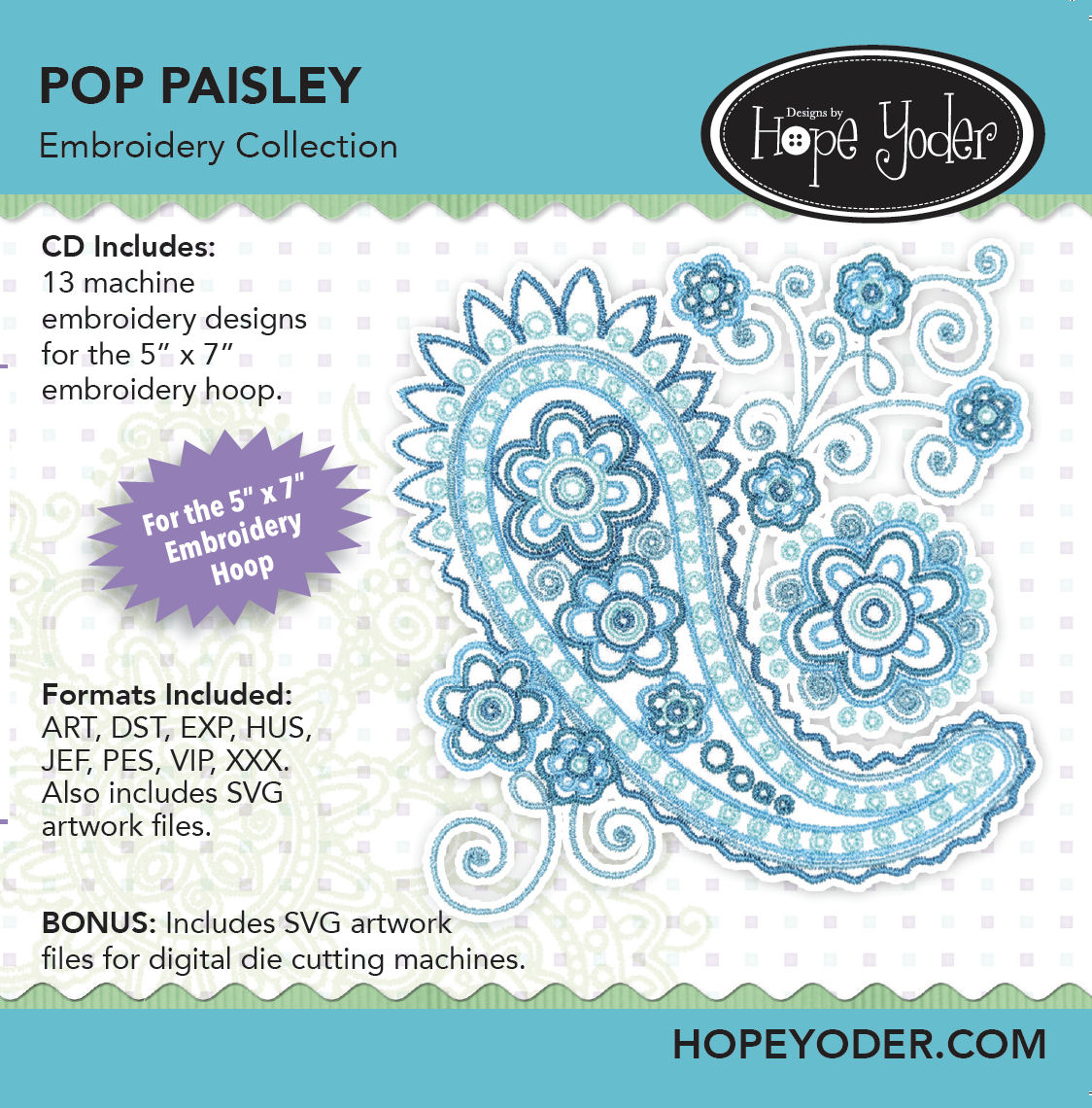 Pop Paisley Embroidery CD with SVG Files