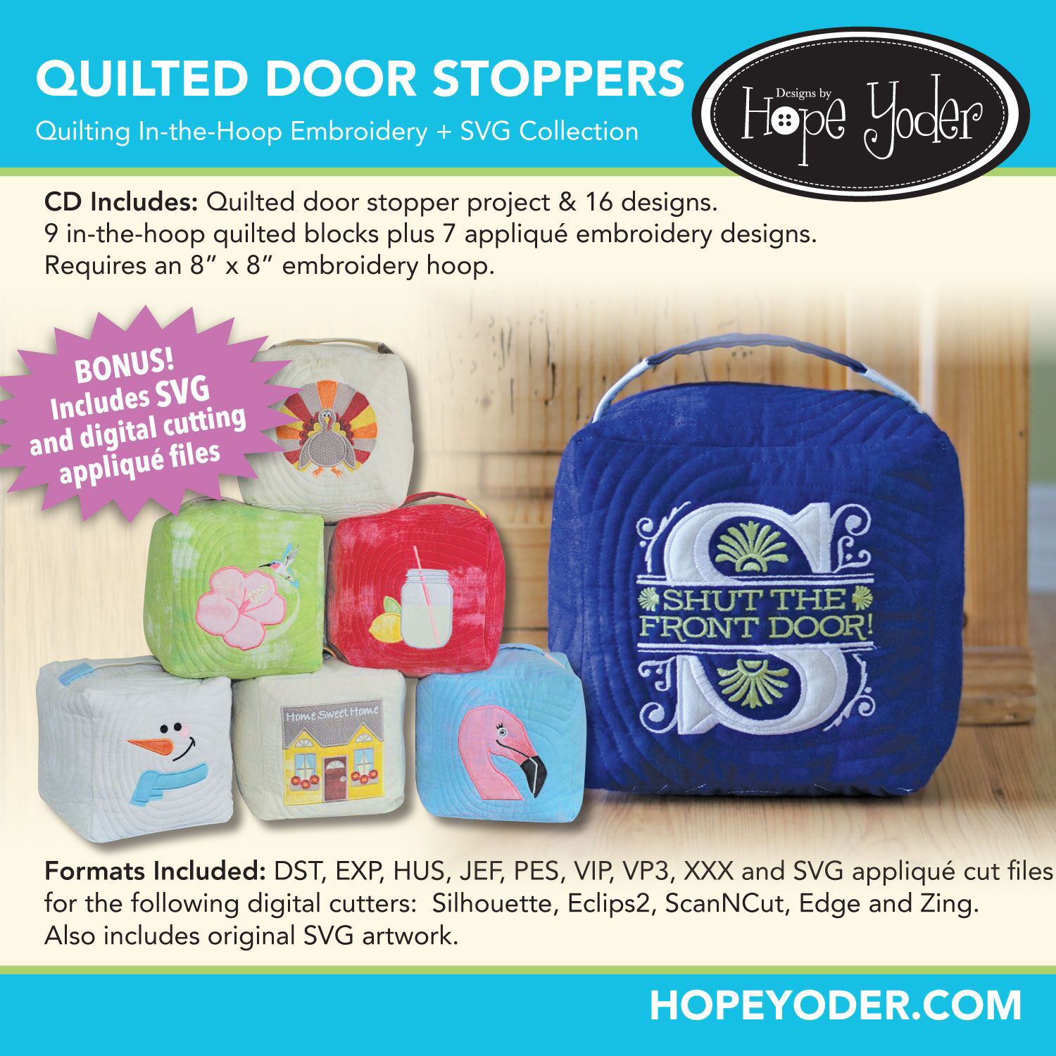 Quilted Door Stop Embroidery CD with SVG Files
