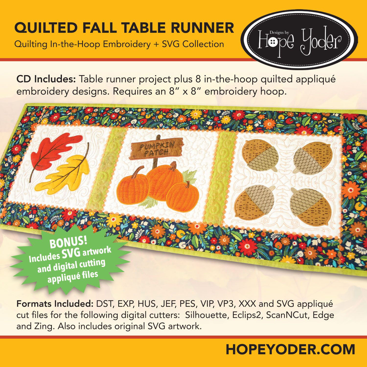 Quilted Fall Table Runner Embroidery CD with SVG Files
