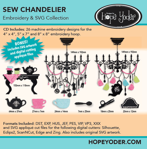 Sew Chandelier Embroidery CD with SVG Files