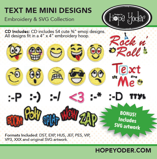 Text Me Embroidery CD with SVG Files