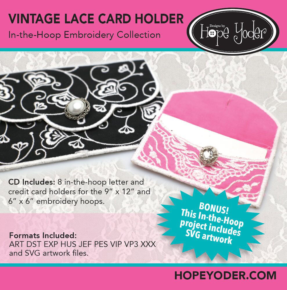 Vintage Card Holders Embroidery CD with SVG Files