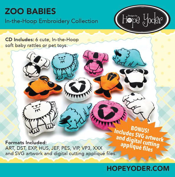 Zoo Babies Embroidery CD with SVG Files