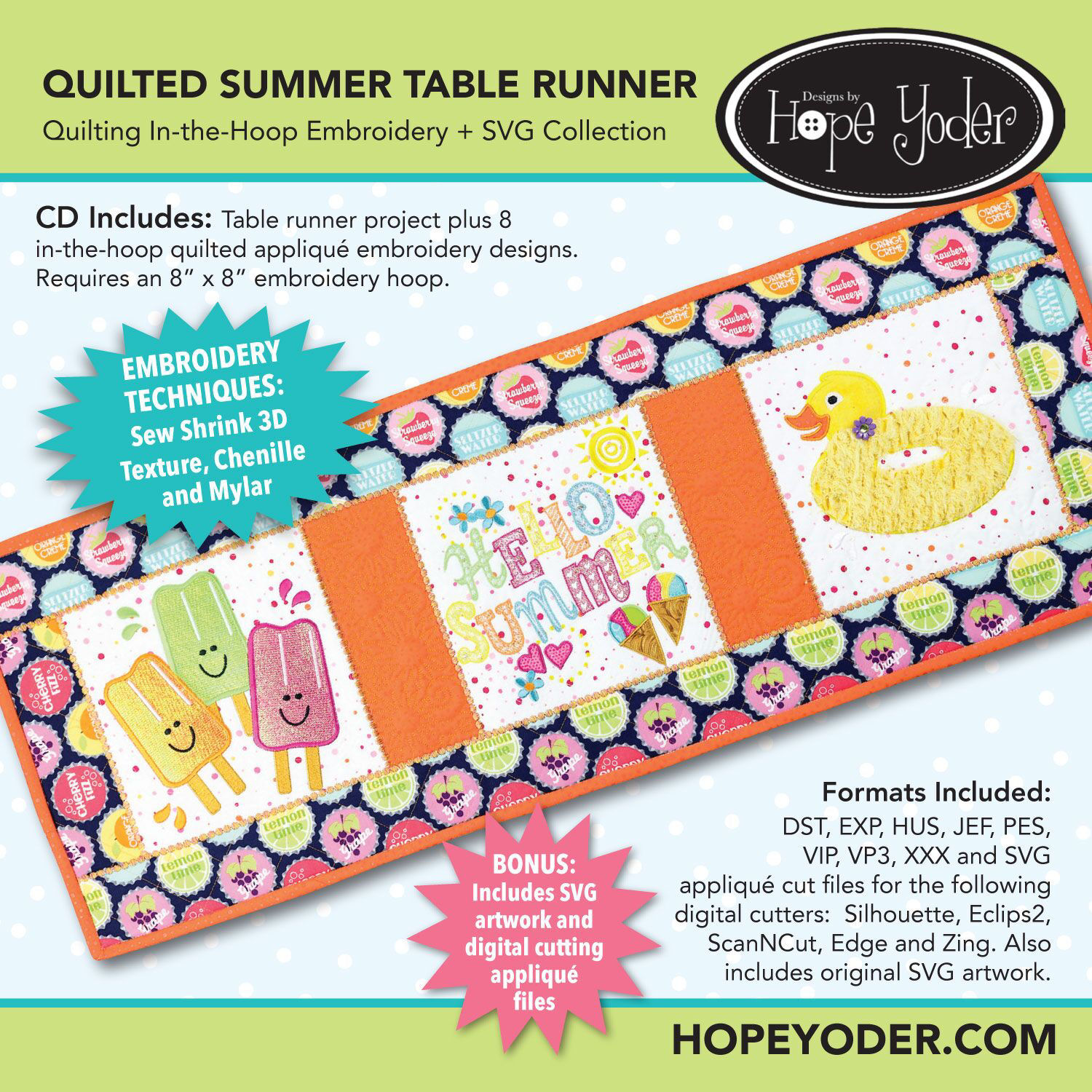 Summer Table Runner Embroidery CD