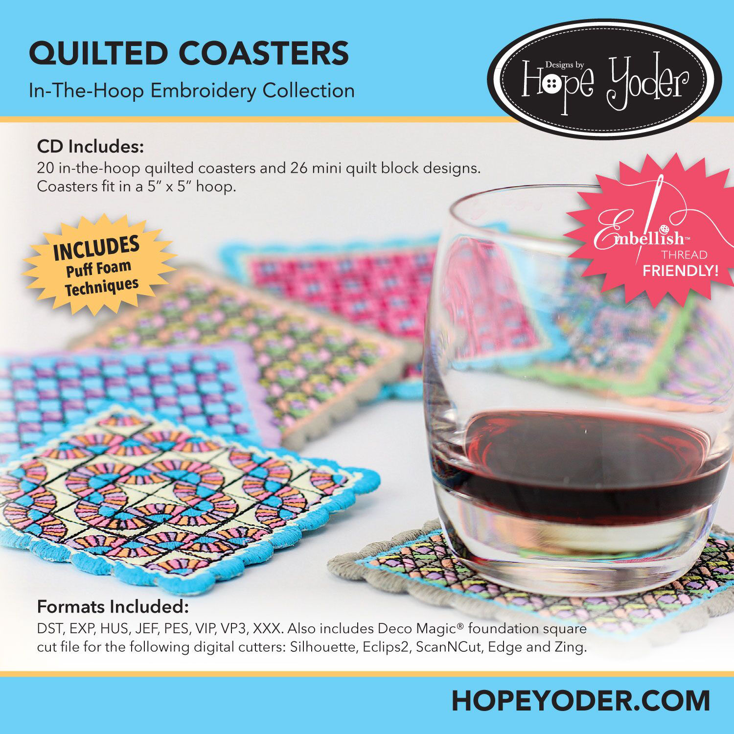 Quilted Coaster Embroidery CD
