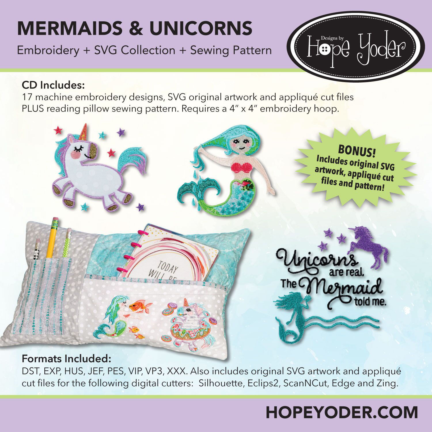Mermaids & Unicorns Embroidery CD with SVG Files