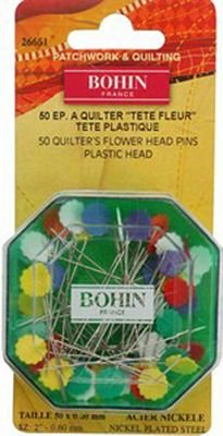 Bohin Sharps 2in Quilters Mixed Flower Head Pin