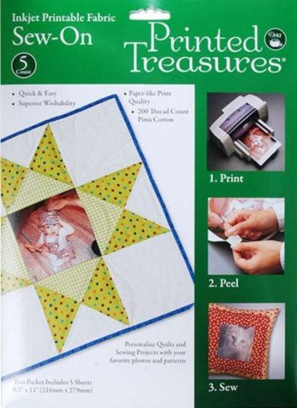 Printed Treasures Sew-On Printer Fabric Sheets White