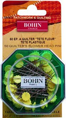 Bohin Sharps 2in Quilters Yellow Flower Head Pin