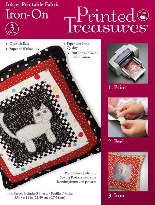 Dritz Printed Treasures Iron-On Printer Fabric Sheets