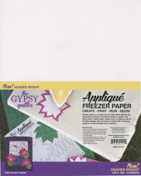 Gypsy Quilter Applique Freezer Paper 12 x 15