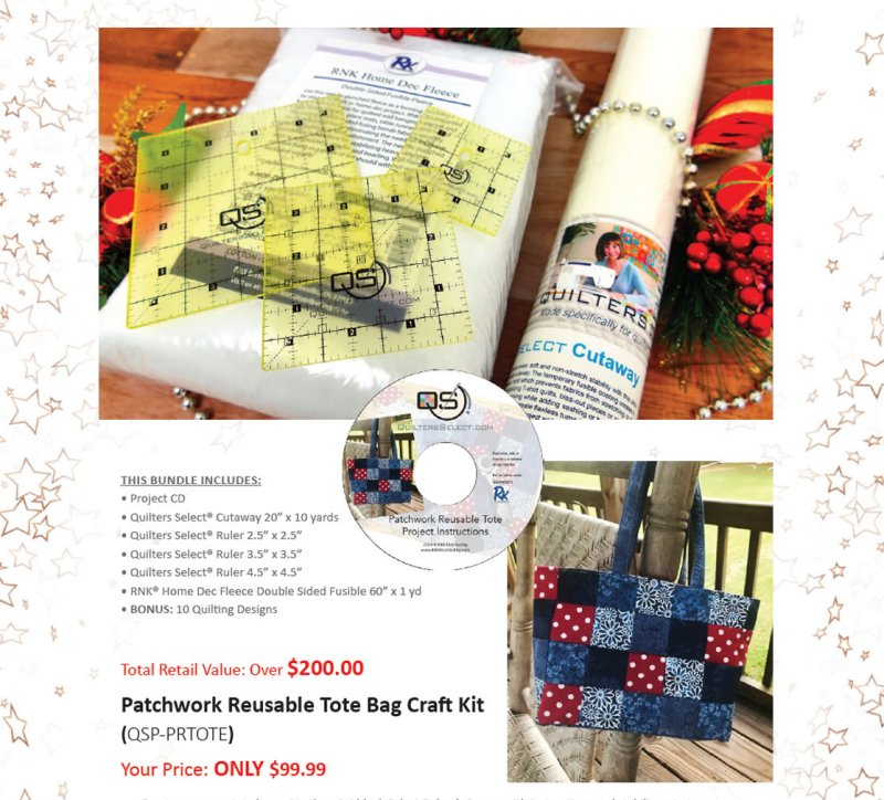 Quilters Select Reusable Patchwork Tote Bag Craft Kit