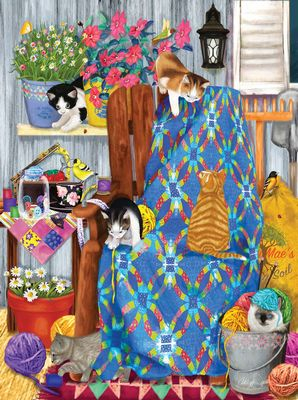 Porch Kittens 1000pc Jigsaw Puzzle