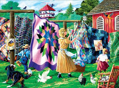 Jigsaw Puzzle Quilters Clothesline 1000pc