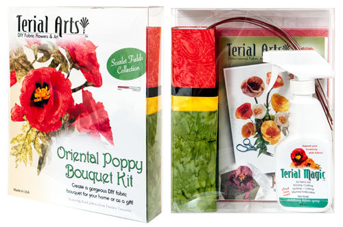 Terial Arts Oriental Poppy Bouquet Kit With Fabric