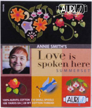 Aurifil Love Is Spoken Here: Summerset Collection From Annie Smith 10 Small Spools AS28LSHS10