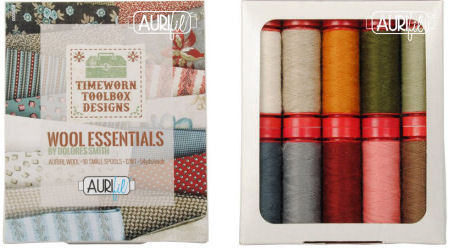 Aurifil Timeworn Toolbox Collection Wool Essentials 10 Small Spools Dolores Smith DS12TTWE10