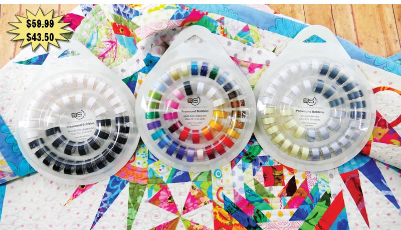 Quilters Select 80wt Para-Cotton-Poly 40 Multi-Color Bobbin Set With Ring