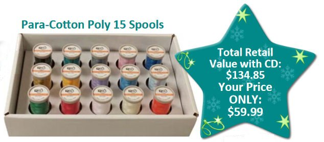 Quilters Select 80wt Para-Cotton Poly 15 Spool Set w Designs