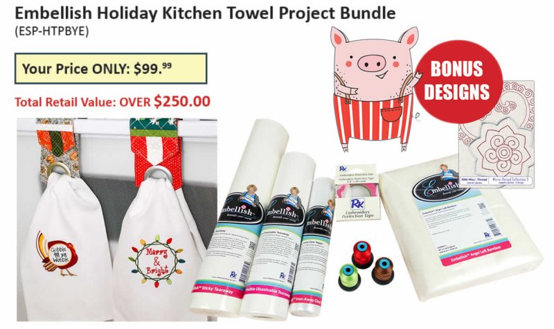Embellish Holiday Kitchen Towel Project Bundle ESP-HTPB