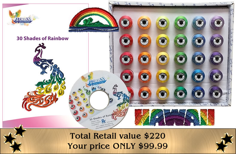 Floriani Rainbow of Color Thread Collection