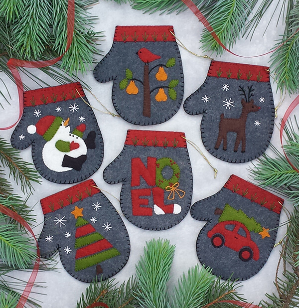 Charcoal Mittens Christmas Ornament Kit from Rachels of Greenfield