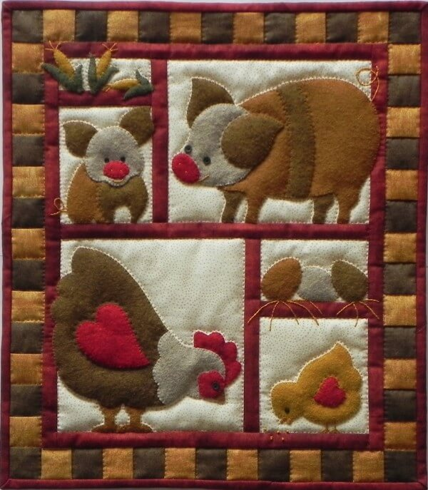Ham and Eggs Wall Quilt Kit from Rachels of Greenfield