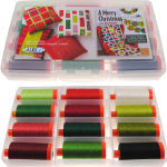 Aurifil Merry Christmas Collection 12 Large 50wt Spools by Kim Schaeffer KS50MC12bds