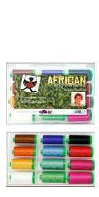 Aurifil African Inspiration Kit 12 Large 40wt Cotton Spools By Kaye England AI40KE12