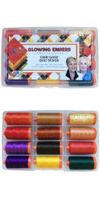 Aurifil Glowing Embers Collection From Cheri Good Designs 12 Large Spools CG50GE12