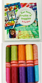 Aurifil Fruits N Veggies Collection 10 Small 50wt Cotton Spools By Pat Sloan FV50PS10